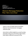 Obamas Mortgage Reduction Plan
