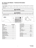 Amana Front Load Washer Technical Information