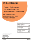 Frigidaire 2008 Room Air Conditioner (RAC) Service Manual Factory Location I