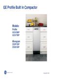 GE Profile Built In Compactor Service Manual