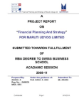 Financial Project on Financial Planning And Strategy : Maruti Udyog Limited