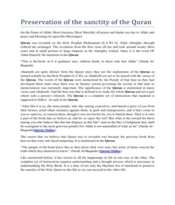 Preserve the Sanctity of the Quran