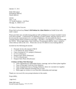 I-130 Cover Letter Sample